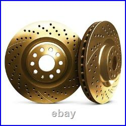 For Chevy Corvette 05-13 Drilled & Slotted 1-Piece Front Brake Rotors