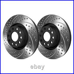 For Chevy Corvette 17-19 Double Drilled & Slotted 1-Piece Rear Brake Rotors