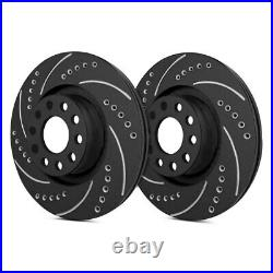 For Chevy Corvette 17-19 Drilled & Slotted 1-Piece Rear Brake Rotors