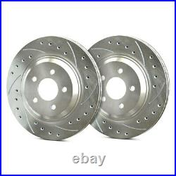 For Chevy Corvette 84-87 Drilled & Slotted 1-Piece Rear Brake Rotors
