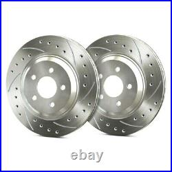 For Chevy Corvette 97-04 Drilled & Slotted 1-Piece Front Brake Rotors
