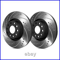 For Chevy Corvette 97-04 Drilled & Slotted 1-Piece Rear Brake Rotors